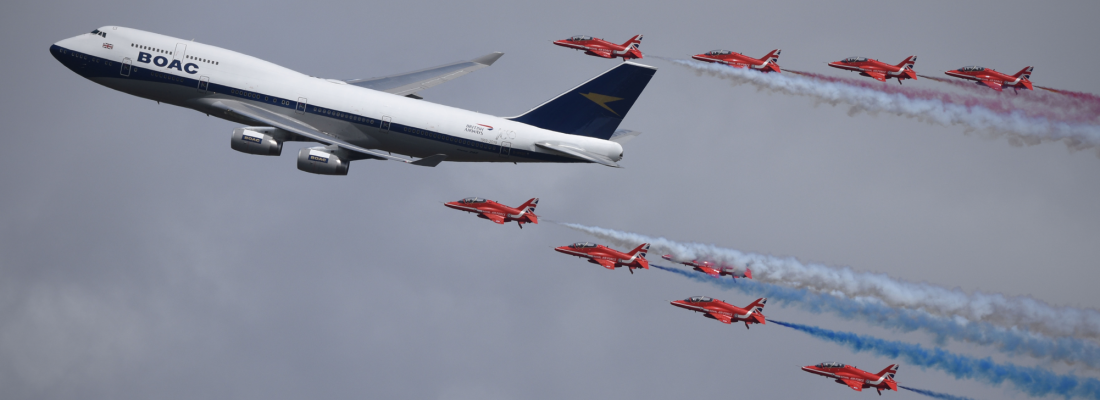 Red Arrows & British Airways 747 flypast 1